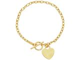 14 Kt Yellow Gold 7.50 Inch Bright Cut Oval Chain Link Bracelet With Heart Ring and Toggle Lock style: 475355