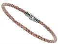 Sterling Silver 7.5 Inch Pink Silk Beaded Wrap Bracelet With Magnetic Clasp