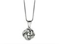 Polished Love Knot Pendant Necklace on 18 Inch Chain