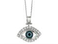 Sterling Silver 18 Inch Evil Eye Pendant Necklace