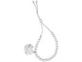 Rhodium Finish Sterling Silver 9.25 Inch 4 Leaf Clover Charm Friendship Bracelet with Draw String Clasp