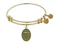 """Angelica Collection Antique Yellow Stipple Finish Brass """"caduceus"""" Expandable Bangle"""
