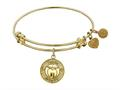 "Angelica Collection Non-antique Yellow Stipple Finish Brass ""apple; Teach, Inspire"" Expandable Bangle"
