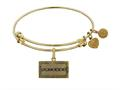 Angelica Collection Brass with Yellow Finish Friends Logo Design Expandable Bangle