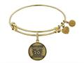 Angelica Collection Brass with Yellow Finish Friends 20th Anniversary Charm Expandable Bangle