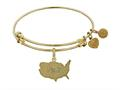 Brass With Yellow Usa Map Charm Angelica Collection Bangle