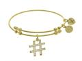 Brass With Yellow Finish Hash Tag Charm On Yellow Angelica Collection Bangle