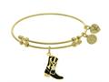 Brass With Yellow Cowboy Boot Enamel Charm On Yellow Angelica Collection Bangle