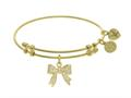 Brass With Yellow Bow Charm With CZ On Yellow Angelica Collection Bangle
