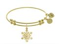 Brass With Yellow Snowflake Charm With CZ On Yellow Angelica Collection Bangle