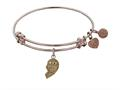 "Angelica Collection Antique Pink Stipple Finish Brass Left-half Heart Best Friends Forever ""bff"" Expandable Bangle"