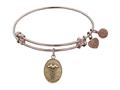 """Angelica Collection Antique Pink Stipple Finish Brass """"caduceus"""" Expandable Bangle"""