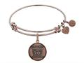 Angelica Collection Brass with Pink Finish Friends 20th Anniversary Charm Expandable Bangle
