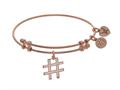Brass With Pink Finish Hash Tag Charm On Pink Angelica Collection Bangle