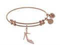 Brass With Pink High Heels Shoe Charm With CZ On Pink Angelica Collection Bangle