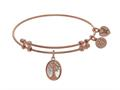 Brass With Pink Tree Of Life On Mop - Oval Charm On Pink Angelica Collection Bangle