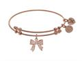 Brass With Pink Bow Charm With CZ On Pink Angelica Collection Bangle