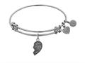 "Angelica Collection Antique White Stipple Finish Brass Left-half Heart Best Friends Forever ""bff"" Expandable Bangle"