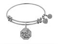 """Angelica Collection Non-antique White Stipple Finish Brass """"Mother of the Bride"""" Expandable Bangle"""