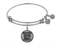 Angelica Collection Brass with White Finish Friends 20th Anniversary Charm Expandable Bangle