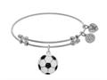 Brass With White Finish Charm With Black+white Enamel Soccer Ball On White Angelica Collection Bangle