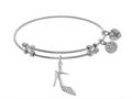 Brass With White High Heels Shoe Charm With CZ On White Angelica Collection Bangle