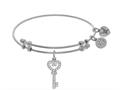 Brass With White Key Charm With CZ On White Angelica Collection Bangle