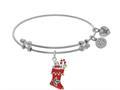 Brass With White Xmas Sock Enamel Charm On White Angelica Bangle
