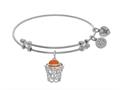 Brass With White Basketball Enamel Charm On White Angelica Collection Bangle