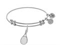 Brass With White Tennis Racket Charm On White Angelica Collection Bangle