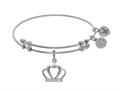 Brass With White CZ Crown Charm On White Angelica Collection Bangle