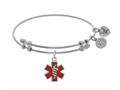 Brass With Red Enamel Caduceus White Angelica Collection Angelica Collection Bangle