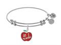 Brass With Enamel Teacher Charm On White Angelica Collection Bangle