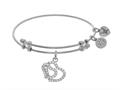 Angelica Collection Brass With White Double Heart Charm With White CZ On White Bangle