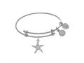 Brass With White Star Fish Charm On White Angelica Collection Tween Bangle (Small)