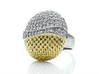 Finejewelers Fancy Oval Cocktail Ring with Textured Yellow Tone Plating and Cubic Zirconia Style number: 460137