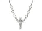 Finejewelers Sterling Silver Cross with Cubic Zirconia (CZ's) Ladies Necklace Style number: 460456