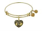 Angelica Collection Brass with Yellow Finish Proud Wife U.S. Marine Corps Heart Shaped Expandable Bangle Style number: GEL1280