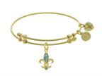 Angelica Collection Brass With Yellow Fleur De Lis Charm With Created Opal On Yellow Bangle Style number: GEL1402
