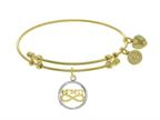 "Brass With Yellow+white Finish ""infinity"" Symbol Charm On Yellow Angelica Collection Bangle Style number: GEL1501"