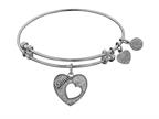 Angelica Collection Antique White Stipple Finish Brass Heart With mom And Open Heart Expandable Bangle Style number: WGEL1004