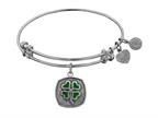 """Angelica Collection Antique White Stipple Finish Brass """"four Leaf Clover"""" --enamel Expandable Bangle Style number: WGEL1149"""