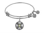 Angelica Collection Antique White Finish Brass August Simulated Peridot Expandable Bangle Style number: WGEL1189