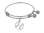 Angelica Collection Non-antique White Stipple Finish Brass Enamel baseball Expandable Bangle Style number: WGEL1206