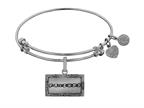 Angelica Collection Brass with White Finish Friends Logo Design Expandable Bangle Style number: WGEL1301