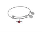 Brass With White Finish Red Heart Cubic Zirconia and Angel Wings Charm On White Angelica Collection Tween Bangle Style number: WTGEL9119