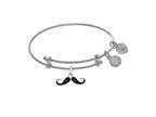 Brass With White Finish Enamel Mustache Charm On White Angelica Collection Tween Bangle Style number: WTGEL9131