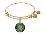 Angelica Collection Brass with Yellow Finish U.S. Army Enamel Symbol Expandable Bangle style: GEL1315