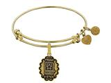 Angelica Collection Brass with Yellow Finish Proud Sister U.S. Army Expandable Bangle style: GEL1317