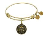 Angelica Collection Brass with Yellow Finish Proud Sister U.S. Navy Round Expandable Bangle style: GEL1321